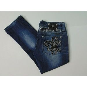 Miss Me 31 Straight Blue Jeans Denim Embroidered